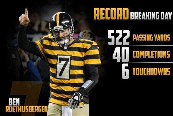 Ben Roethlisberger, 522 yards, 6 touchdowns, Colts