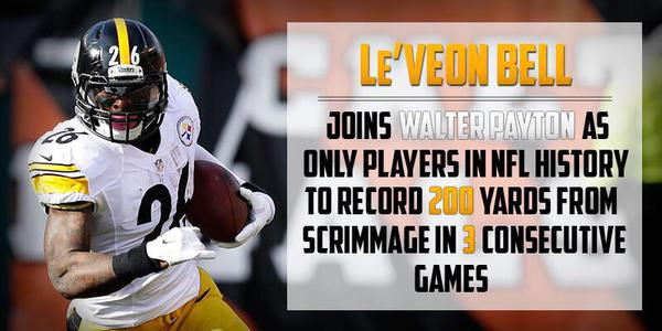 Walter Payton, Le'Veon Bell, 200 yards, scrimmage, 3 games, Steelers vs. Bengals