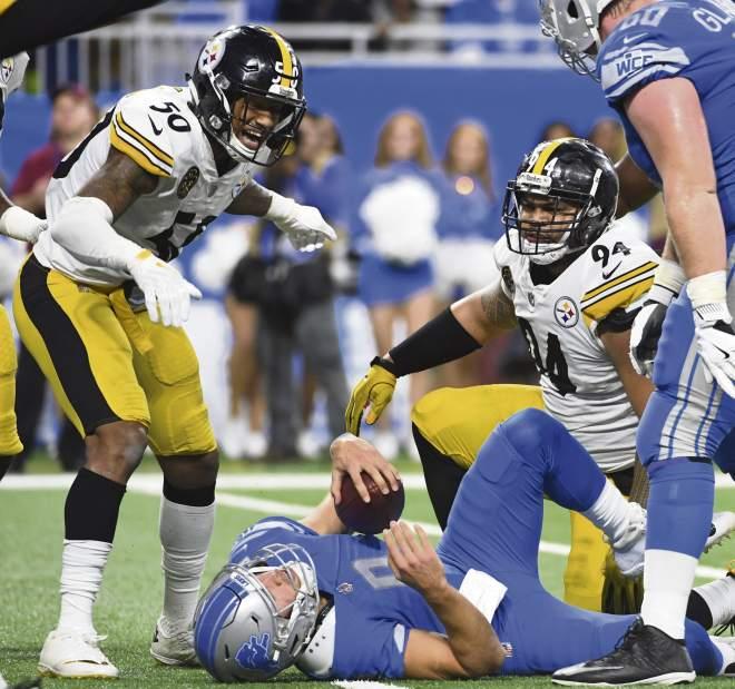 Ryan Shazier, Tyson Alualu, Matthew Stafford, Alualu Stafford Sack, Steelers vs Lions