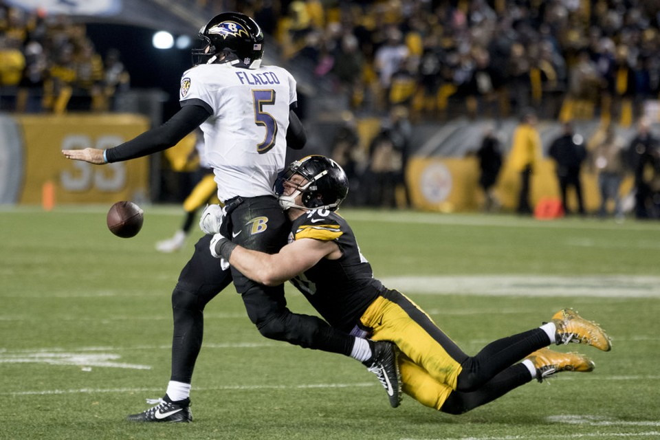 T.J. Watt strip sack flacco, Steelers vs Ravens, T.J. Watt, Joe Flacco