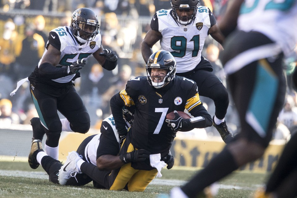 Ben Roethlisberger, Lerentee McCray, Steelers vs Jaguars, Steelers Jaguars playoffs, Jaguars sack ben roethlisberger