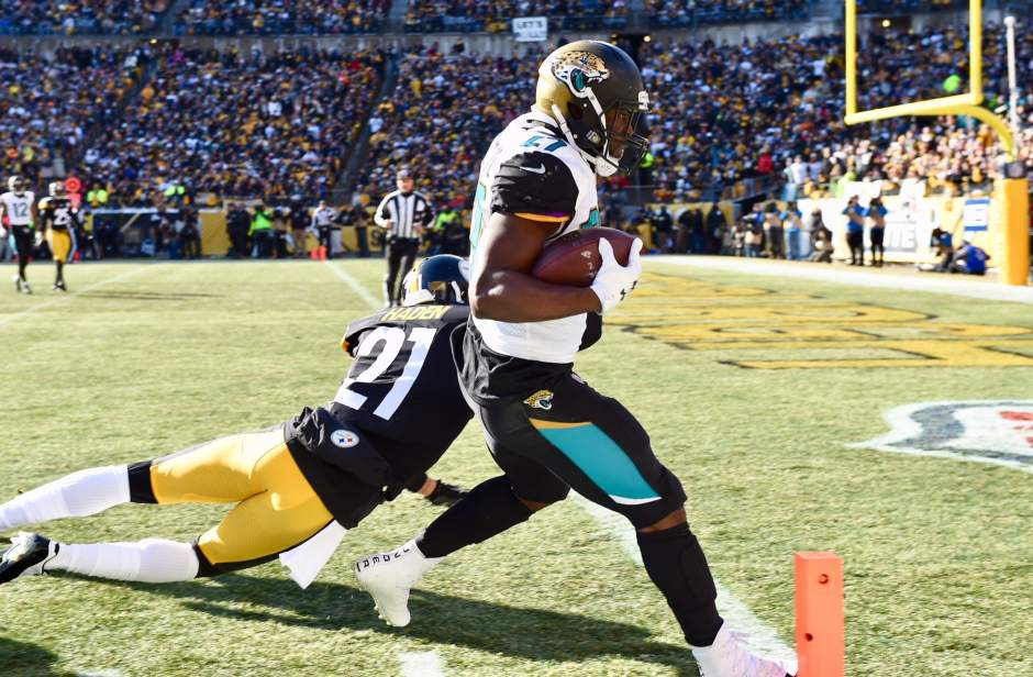 Leonard Fournette, Joe Haden, Leonard Fournette touchdown Steelers, Steelers Jaguars Playoffs, Steelers vs. Jaguars