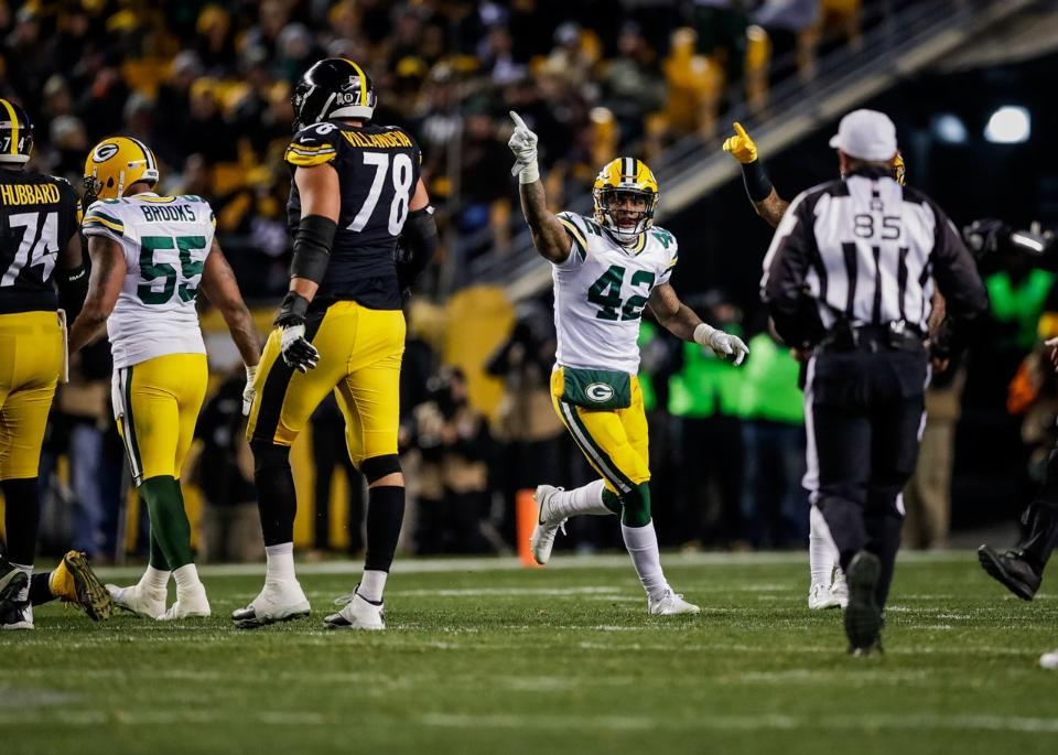 Morgan Burnett, Alejandro Villanueva, Steelers vs Packers