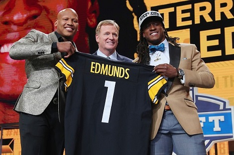 Terrell Edmunds, Ryan Shazier, Roger Goodell, 2018 NFL Draft Steelers