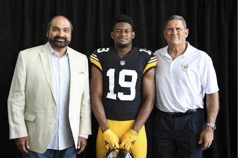 2018 steelers throwback jerseys, JuJu Smith-Schuster, Franco Harris, John Banazack
