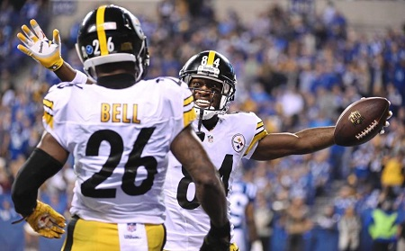 Antonio Brown, Le'Veon Bell, Steelers vs Colts