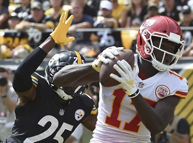Artie Burns, Chris Conley touchdown Steelers, Steelers vs Chiefs 2018