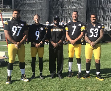 Steelers 2018 captains, Mike Tomlin, Ben Roethlisberger, Cam Heyward, Maurkice Pouncey, Chris Boswell,