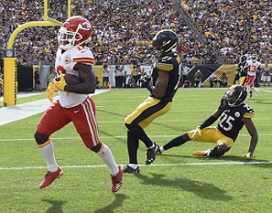 Tyreek Hill touchdown Steelers, Sean Davis, Artie Burns, Steelers vs Chiefs