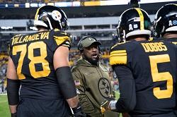 Mike Tomlin, Joshua Dobbs, Alejandro Villaneuva, Steelers vs Panthers