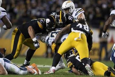 Bud Dupree, Stephon Tuitt, Cam Heyward, L.J. Fort, Steelers vs Chargers