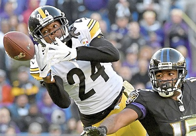 Coty Sensabaugh, Michael Crabetree, Steelers vs Ravens