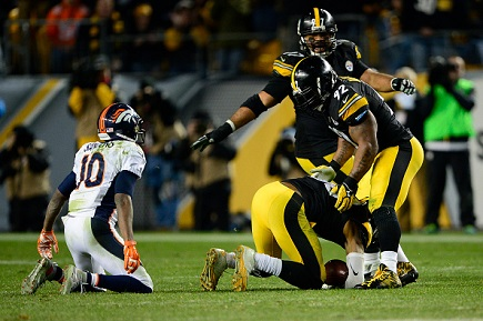 James Harrison, Emmanuel Sanders, Steelers vs Broncos