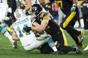 T.J. Watt, Ryan Fitzpatrick, Steelers vs Dolphins MNF