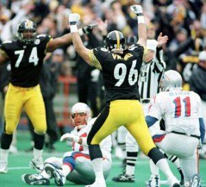 Mike Vrabel Steelers, Mike Vrabel sack Drew Bledsoe, Steelers vs Patriots divisional playoff