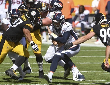 Cam Heyward, T.J. Watt, Jeff Driskel, Steelers vs Broncos