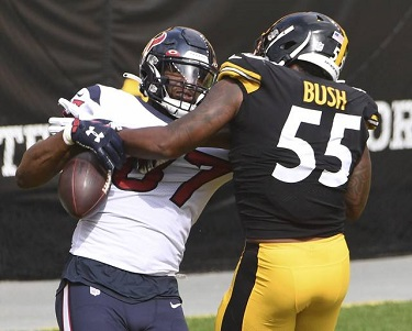 Devin Bush, Darren Fells, Steelers vs Texans