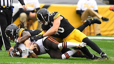 Bud Dupree, T.J. Watt, Baker Mayfield, Steelers vs Browns
