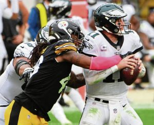 Bud Dupree, Carson Wentz, Steelers vs Eagles