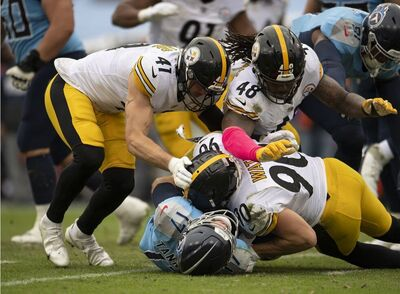 T.J. Watt, Ryan Tannehill, Robert Spillane, Bud Dupree, Steelers vs Titans