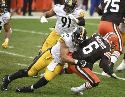 Chris Wormely, Baker Mayfield, Steelers vs Browns