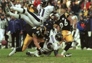 Hines Ward, Rod Woodson, Jerame Tuman, Steelers vs Ravens, First playoff game Heinz Field