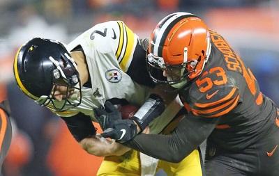 Joe Schobert. Steelers vs Browns, Mason Rudolph