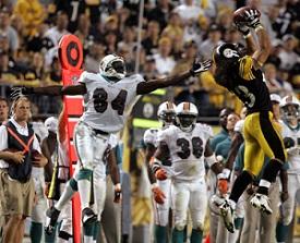 Troy Polamalu, Chris Chambers, Steelers vs Dolphins