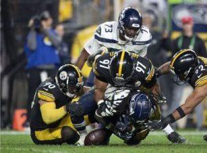 Cam Heyward, T.J. Watt, Steelers vs Seahawks