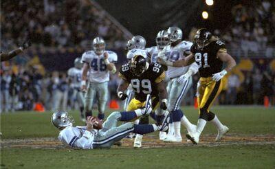 Levon Kirkland, Troy Aikman, Kevin Greene, Steelers vs Cowboys, Super Bowl XXX, Super Bowl 30,